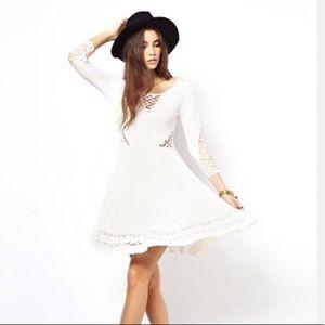 Free People crochet skater dress in cream sz XS